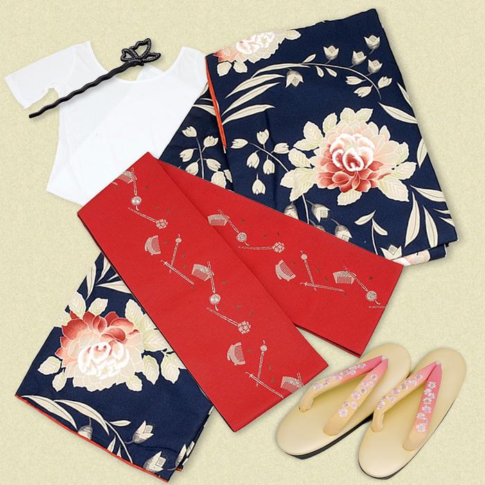 Kimono Botan – Japanese Traditional Cloth, Peony with 5 items – Traditional Japanese acces ...