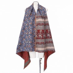 Recycled Sari Kantha Stitch Stole with Armholes– VEGANIE – One Piece for One Peace